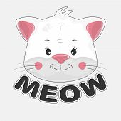 Cute Happy Cartoon Cat And Inscription Meow. poster