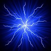 stock photo of fireball  - electrical white blue lightnings fireball over dark background - JPG