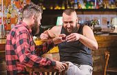 Drunk Conversation. Cheers Concept. Hipster Brutal Bearded Man Drinking Alcohol With Friend At Bar C poster
