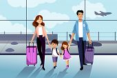 Happy Family With Two Kids Going To Their Summer Vacation. Family Travel By Airplane. Young Woman, M poster