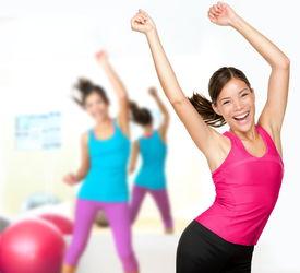 image of athletic woman  - Fitness dance class aerobics - JPG