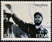 KOMI - CIRCA 1999: A stamp printed in Komi shows Fidel Castro circa 1999
