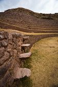 Inca floating stairs at Moray ruins, Peru