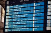 stock photo of gare  - The departures timetable for all domestic and international trains at the main Budapest Gare  - JPG