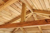 foto of rafters  - Interior view of a wooden roof structure - JPG