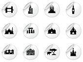 Stickers with landmarks poster