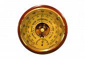 stock photo of barometer  - Barometer closeup isolated on the white background - JPG