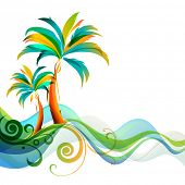 stock photo of hawaiian flower  - Palms and waves - JPG