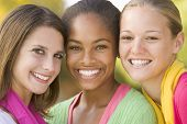 stock photo of teenage girl  - Portrait Of A Group Of Teenage Girls - JPG