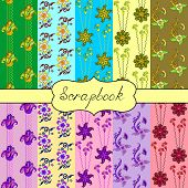 Set Of Seamless Of Bright Patterns For Scrapbook