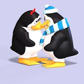 stock photo of growler  - cute penguin couple in love with Clipping Path - JPG