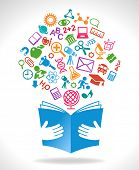 concept on the topic of education. book icon in the hands of the icons on the theme of science