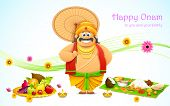 stock photo of onam festival  - illustration of King Mahabali in Onam background - JPG