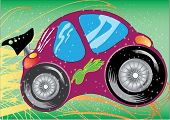 stock photo of beetle car  - illustration vector of pink toy car with stars background - JPG