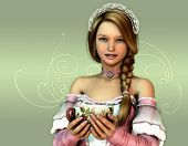 image of chokers  - 3D computer graphics of a girl in a dress in the French romantic style and a cup in her hands - JPG