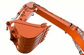 stock photo of heavy equipment  - Orange clear excavator bucket beam isolated over white with clipping path - JPG
