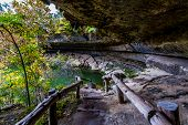 Rustic Old Wooden Entrance to Hamilton Pool Sink Hole in the Texas Hill Country in Late Fall