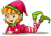 stock photo of elf  - Illustration of a cute playful elf on a white background - JPG
