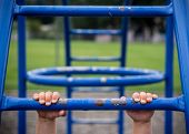 image of monkeys  - Hold on with hands to monkey bars at playground