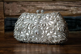 stock photo of sling bag  - Image of a jeweled clutch  - JPG