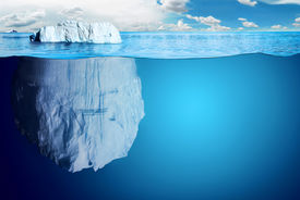 picture of iceberg  - Underwater view of iceberg with beautiful polar sea on background  - JPG