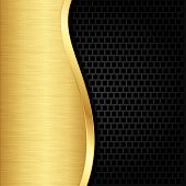 pic of iron star  - Abstract golden background with metallic speaker grill - JPG
