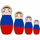 stock photo of doll  - Cartoon illustration showing russian dolls in different sizes painted with the colors of the Russian flag - JPG