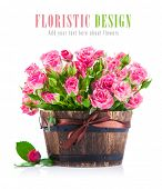 picture of bunch roses  - Bunch pink roses in pot - JPG