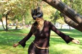 image of catwomen  - Young beautiful caucasian girl wearing a cat mask - JPG