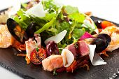 Salad with Seafood and Ruccola