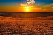 stock photo of kansas  - Sunset overlooking the Flint Hills of Kansas - JPG