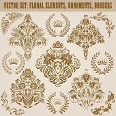 stock photo of laurel  - Set of vector damask ornaments - JPG