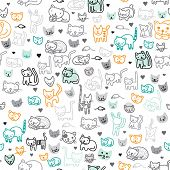 Seamless pussy cat and funny kitten illustration background pattern in vector
