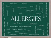 stock photo of rhinitis  - Allergies Word Cloud Concept on a Blackboard with great terms such as food pollen mold and more - JPG
