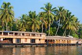 image of houseboats  - landscape with reflection houseboat in kerala backwaters India - JPG
