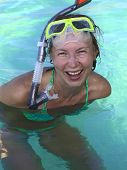 Happy Woman In The Ocean poster
