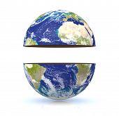 stock photo of courtesy  - earth globe divided into two parts with empty space in the middle for custom text - JPG