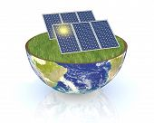 image of courtesy  - one earth globe divided into two parts with a lawn and solar panels - JPG