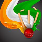 image of cricket shots  - easy to edit vector illustration of ball and stumps for cricket design - JPG