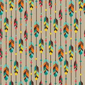 stock photo of primite  - Ethnic seamless pattern in native style with feathers - JPG