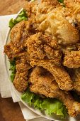 image of southern fried chicken  - Homemade Southern Fried Chicken with Biscuits and Mashed Potatoes - JPG