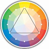 stock photo of color wheel  - Multicolor spectral circle from 12 segments and its triangle scheme - JPG