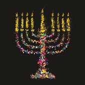 Grunge Stylized Colorful Chanukiah (menorah) On Black Background - Holiday Vector Illustration