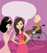 Girls Gossiping About Old Man In A Wheelchair