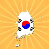 South Korea map flag on sunburst vector illustration
