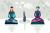 stock photo of chan  - Two women sitting in lotus position with theirs legs crossed practising zen meditation - JPG