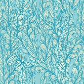 stock photo of feathers  - Seamless floral vintage monochrome doodle pattern with abstract blue feathers - JPG