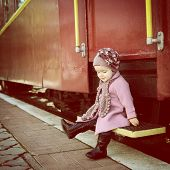 picture of child missing  - Little cute girl ready to vacation on railway station - JPG