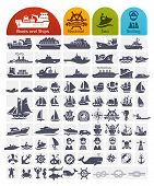 stock photo of sea fish  - Ships and Boats Icons Bulk series  - JPG