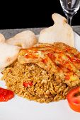 foto of nasi  - Fried Rice Nasi Goreng Indonesia Traditional Food in white plate - JPG